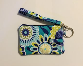 NEW! Hand Made Wristlet With ID/ IPhone 6s Cell Phone Wallet In Blue Floral Print