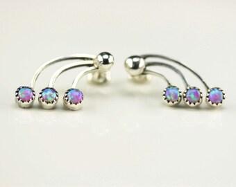 Native American Indian Jewelry Handmade Sterling Silver Pink Opal Post Earrings