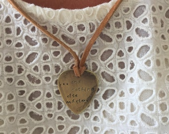 "And Nothing Else Matters Antique Distressed Brass Guitar Pick Hand Stamped Necklace Natural Beige Leather Cord Adjustable 21"" -See Options"