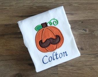 Boys Pumpkin Mustache shirt. Pumpkin shirt. Fall shirt. Boys fall shirt.