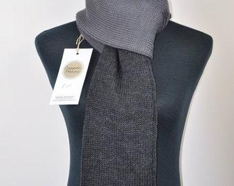 Grey Mens knit scarf, Birthday gift for husband gift, Mens knitted scarf, Husband birthday gift for him, Merino wool scarf men, Guy gifts.