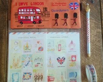 London Themed Stationery Bundle - Orange Zip Pouch, Stickers, Pen, and Washi Tape