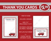 Fire Truck THANK YOU Cards - 80% Off - Fireman Baby Shower -Printable Baby Shower Decorations- Light Gray Dark Red -Firefighter- C22-1