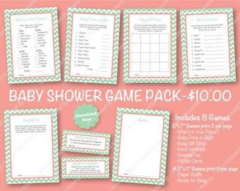 70% Off SALE Seafoam and Coral Glitter Baby Shower Game Pack -PRINTABLE Mint Shower Games- 8 Pack -Seafoam Green Coral -Diaper Raffle Ticket