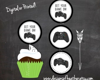 Black and White Video Game Controller Digital Circles- Cupcake Toppers, Stickers, Tags
