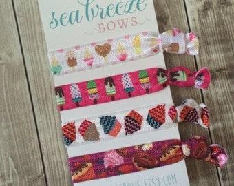 Cupcakes & Candy Hair Tie Set - Desserts, Ice Cream