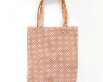 Pink Bag,Dot pattern Bag, Pink flower bag,Pretty Eco Bag, Canvas Bag,  School Bag, Market bag, Daily bag, Tote Bag, Eco Bag