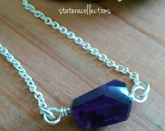 Everyday Amethyst Necklace, pendant, healing stones, crystals, chakra stones, handcrafted jewelry, minimalistic jewelry, silver necklace