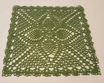 Handmade Crochet Doily, Square, green, handmade doily, table topper, crochet table topper, gift for Mom, weddings, showers, gift