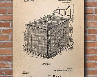 Bird Cage Protector Patent, Bird Cage Print, Bird Cage Poster, Home Decor - DA0408