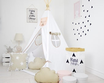 Teepee Set Kids Play Teepee Tent Tipi Kid Playhouse Wigwam Zelt Tente KIDS lamp glow READING SPOT with light- Ice Beige
