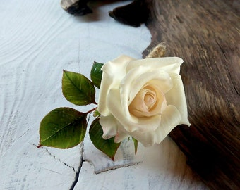 brooch handmade Brooch polymer clay,cold porcelain brooch,brooch flower,rose brooch,rose milk,brooch with rose,flower polymer clay,rose clay