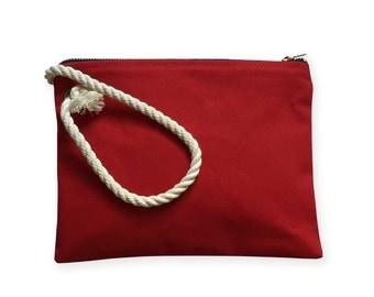 Canvas Clutch Wristlet Rope  Handle. Nautical Clutch. Beach Clutch