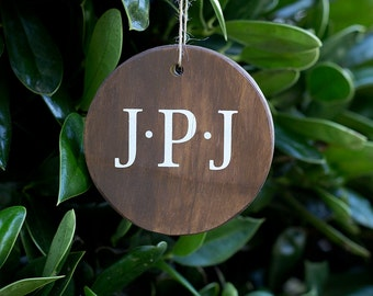 Rustic Christmas Ornament - Personalized Christmas Ornament – Rustic Christmas Decor – Monogram Gift – Custom Christmas Gift- Gifts Under 10