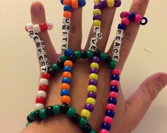 Kandi hand cuff bracelet. Plur (peace love unity respect) kandi. You can choose colors!