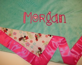 Personalized Pink Satin Edged Baby Blanket - Plain Teal/Minnie Mouse Printed