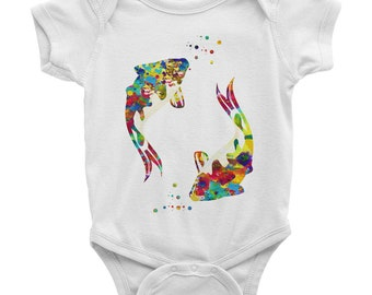 Koi Fishes baby onesie Baby Bodysuit Koi Fishes American Apparel Infant Baby Rib Short Sleeve One Piece koi Fishes baby clothing onesie