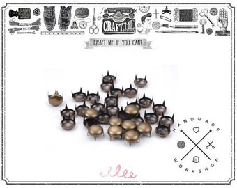 100PCS 8MM ANTIQUE Brass round DOME prong studs spots NAILHEAD Leathercraft glam rock biker.