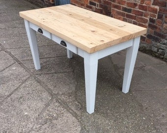 Reclaimed wood Tapered Leg Dining Table with tapered legs & 2 drawers. Made to measure Rustic Scrub table Country kitchen chunky thick top