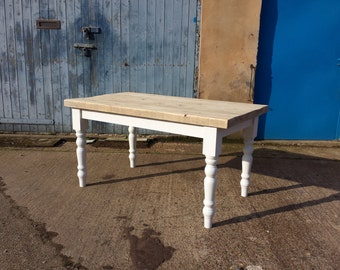 Thick top reclaimed wood farmhouse dining table. Made to measure. chunky old pine. Painted, shabby chic, bench & chairs country 5 6 foot