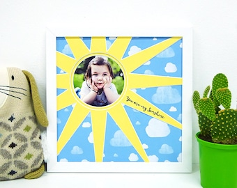 You are my sunshine, custom photo frame. Perfect for a nursery or as a gift for a loved one.