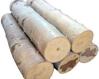 "Three 24"" White Birch Logs - 4"" in Diameter"