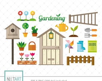 Garden clip art, gardening tools clipart, vector graphics, bird house clipart, digital clip art, digital images -  CL 131