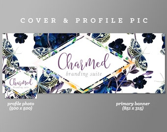 Timeline Cover + Profile Picture 'Charmed' Cover, Profile Picture, Branding, Web Banner, Blog Header | blue, floral, flowers, butterfly