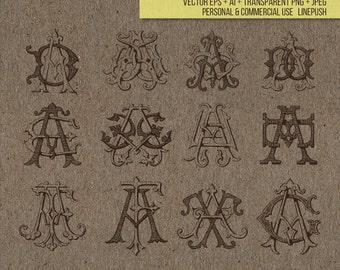 Sale! Vintage Monogram letter set. Ornamental type. Stencil, Typeface. Font. Vector, EPS, AI, PNG, Jpeg, letters, illustration, cutout icons