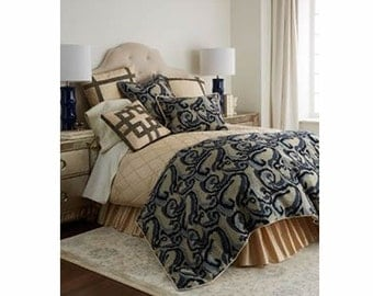 Dian Austin Abstract Art Blue Beige 3 piece Bedding Set - King