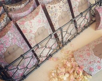 Vintage Floral Print Pillow Boxes of Natural Confetti or Lavender