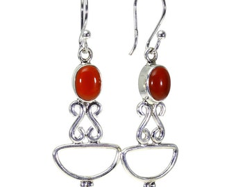 Carnelian Earrings, 925 Sterling Silver, Unique only 1 piece available! color orange, weight 4.67g, #15614