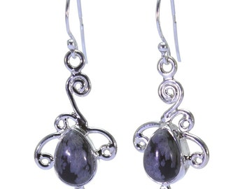 Obsidian Earrings, 925 Sterling Silver, Unique only 1 piece available! color black, weight 4.1g, #32368