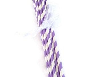 Purple & White Striped Paper Straws