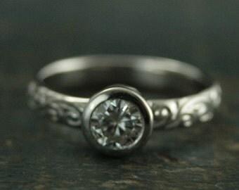 14K White Gold Engagement Ring--Bezel Set Moissanite Ring--Charles and Colvard Forever Brilliant Moissanite--Flourish Le Femme Diamond Ring