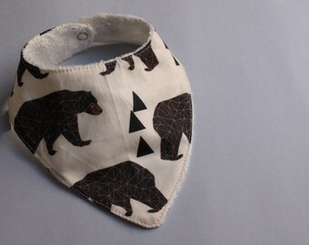Baby Bib / Dribble Bib / Bandana Bib in Geometric Bear print - FREE SHIPPING* by Little Dreamer