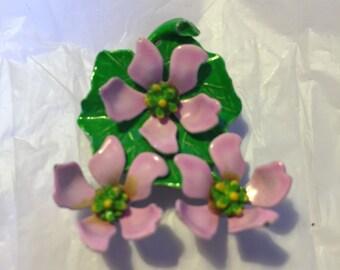 Enamel Pink Flower Pin