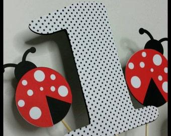 Ladybug Themed Centerpiece,  Ladybug Centerpiece, Cake Toppers