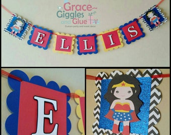 Wonder Woman Inspired Name Banner