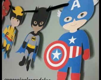 Superhero Banner, Superhero Garland, Birthday Banner
