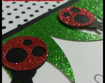 12 Glitter Ladybug Party Invitations, Ladybug Baby Shower Invitations, Ladybug Thank You Cards