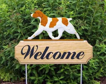 Brittany Spaniel Welcome Garden Stake