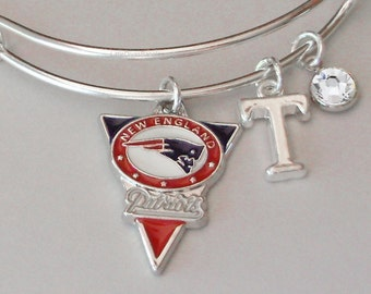 NFL Patriots CHARM Bangle W/ Birthstone / Initial Football Charm Bangle / Bracelet - Patriots Bracelet -Gift For Her NFL Bangle  Usa Sp1