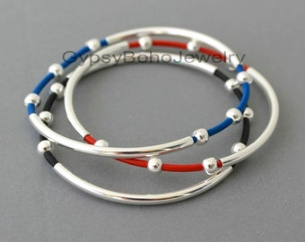 1 LETHER Tube Bangle  Double  Silver Tubes  - Genuine Natural Leather Cord Beaded Bracelet - Pick COLOR- Gift For Her - Under 20 - Usa  001
