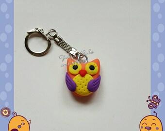 Cute baby owl polymer clay keyring,kawaii,charm,handmade