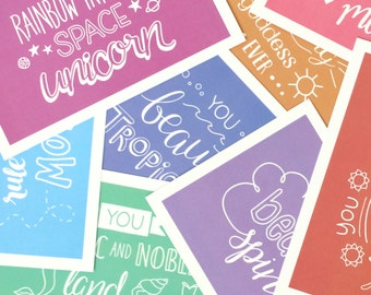 Leslie Knope Compliments - Hand Lettered Postcards Inspired by Parks and Recreation // Postcard Set of 8