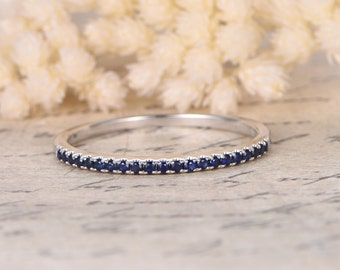 Sapphire Wedding Band Half Eternity Band Sapphire Engagement Ring Sapphire Pave Wedding Band 14k White Gold Thin Wedding Band Stackable Ring