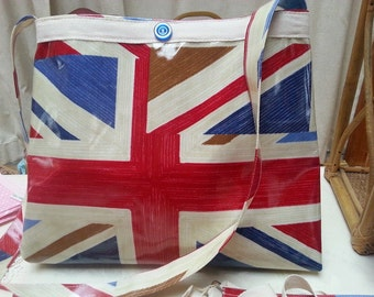 Large Union Jack Oilcloth Tote Bag, long shoulder strap for cross body, fully lined