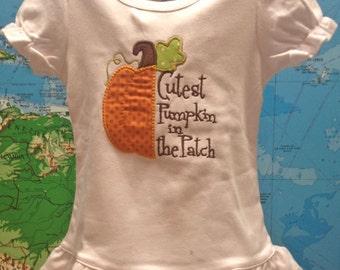 Halloween Fall Thanksgiving Little Girl Cutest Pumpkin in the Patch Ruffle T Shirt