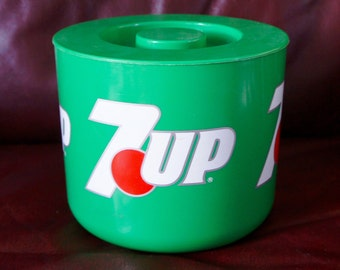 Rare Vintage 7UP Cooler Ice Bucket In Classic 7UP Green Made In England